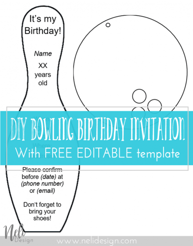 "Pinterest image saying ""DIY bowling birthday invitation with free editable template"""