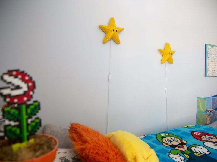 How to make a Super Mario Bros Star, Bedroom light, Super Mario bros themed bedroom, DIY Mario Bros bedroom for boys, Mario brothers bedroom ideas, gamer's bedroom, Super Mario bros themed baby nursery #mariobros #gamer #boysbedroom #diy #nightlight