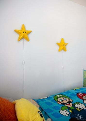 How to make a Super Mario Bros Star, Bedroom light, Super Mario bros themed bedroom, DIY Mario Bros bedroom for boys, Mario brothers bedroom ideas, gamer's bedroom, Super Mario bros themed baby nursery #mariobros #gamer #boysbedroom #diy #nightlight