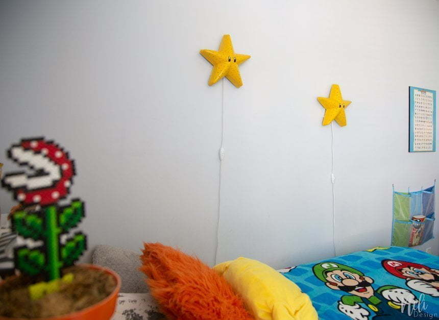 How to make a Super Mario Bros Star, Bedroom light, Super Mario bros themed bedroom, DIY Mario Bros bedroom for boys, Mario brothers bedroom ideas, gamer's bedroom, Super Mario bros themed baby nursery #mariobros #gamer #boysbedroom #diy