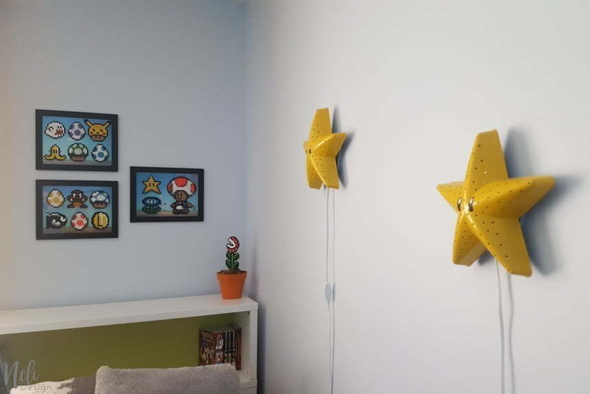 How to decorate a boy's room using his Perler beads crafts, Super Mario Bros Perler beads wall art for a child's bedroom, Hama beads, Super Mario Bros Perler beads patterns, Video games perler beads wall art decor, DIY frame, Children's perler beads crafts, affordable #perlerbeads #hamabeads #wallart #bedroomdecor #videogames #gamer #Nintendo #supermariobros