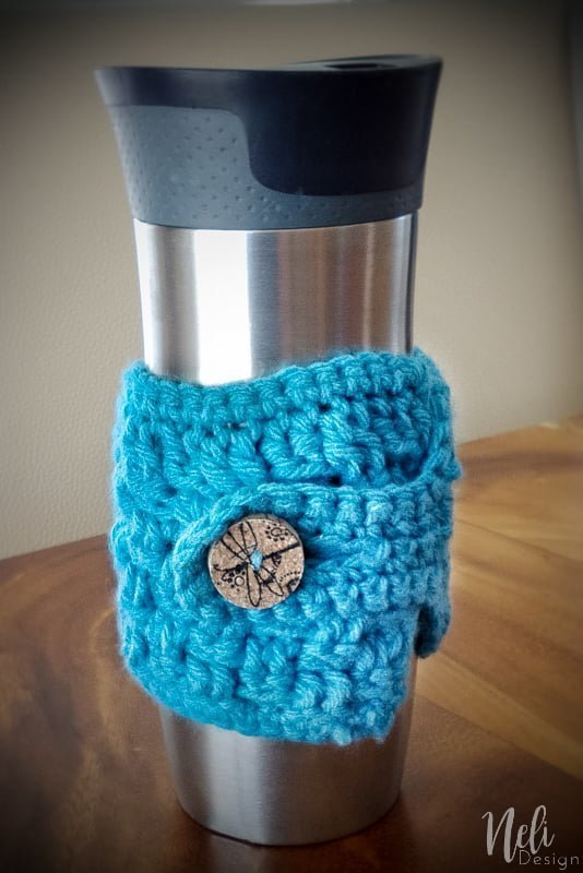 crochet cup cozy, cork button, diy, pattern, tutorial, bouchon de vin,