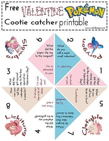 photo relating to Cootie Catcher Printable titled No cost Pokemon Valentine Cootie Catcher printable NeliDesign