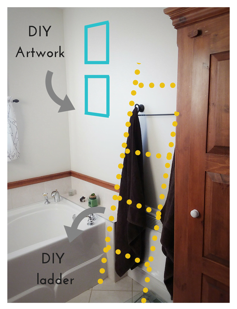 Image of the bathroom showing where the DIY deer wall art is going to be.