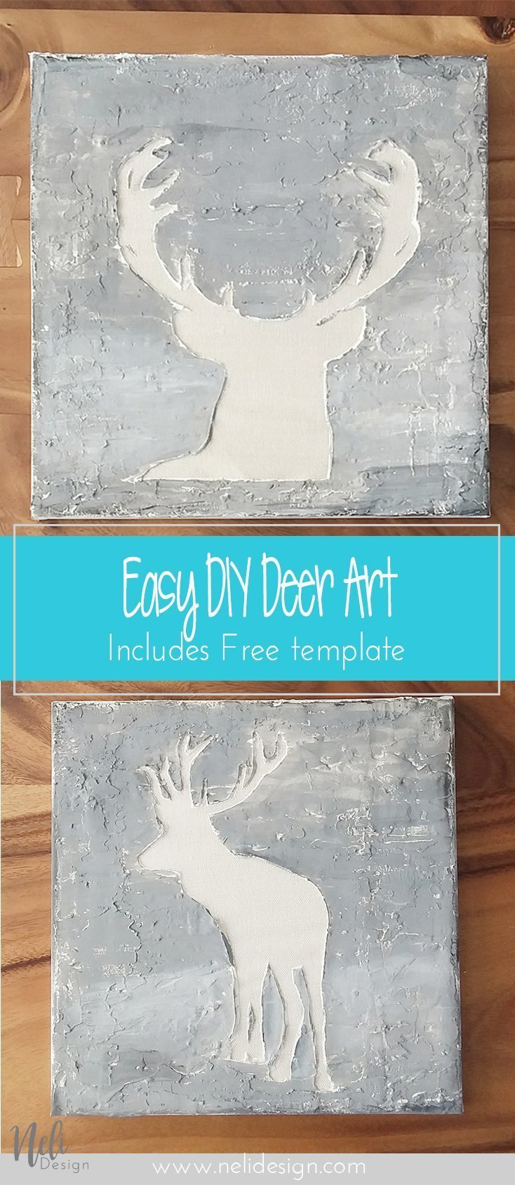 Pinterrest image saying Easy DIY Deer Art Includes free template