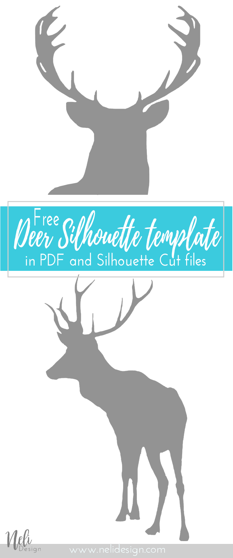 Free Deer Art Printable and Silhouette Cut file | Deer Wall Art | Freebie | Gratuit | Silhouette cervidé | cerf | PDF | Home Decor | Cadre décoration maison