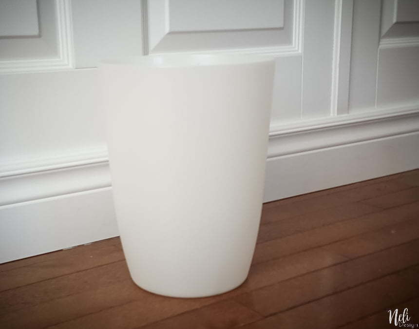 simple white plastic trash can