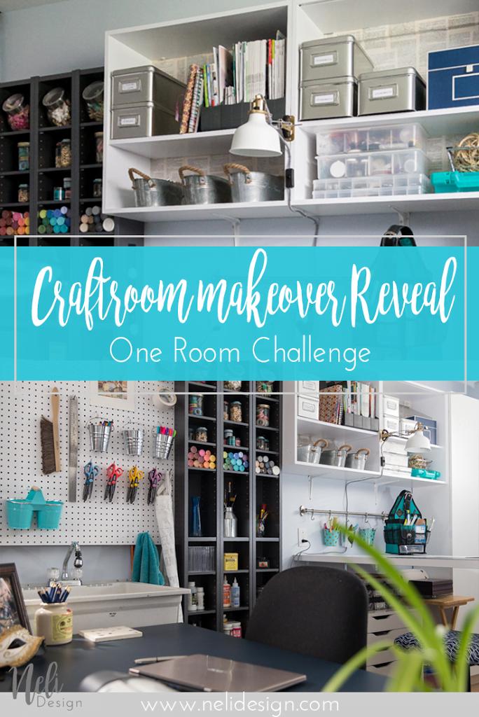 Craft room makeover | Craft room organization | pegboard | wine crates shelves | IKEA desk | DIY | Home Decor | Tutorial #oneroomchallenge #craftroom #pegboard #organization #shelves #winecrates