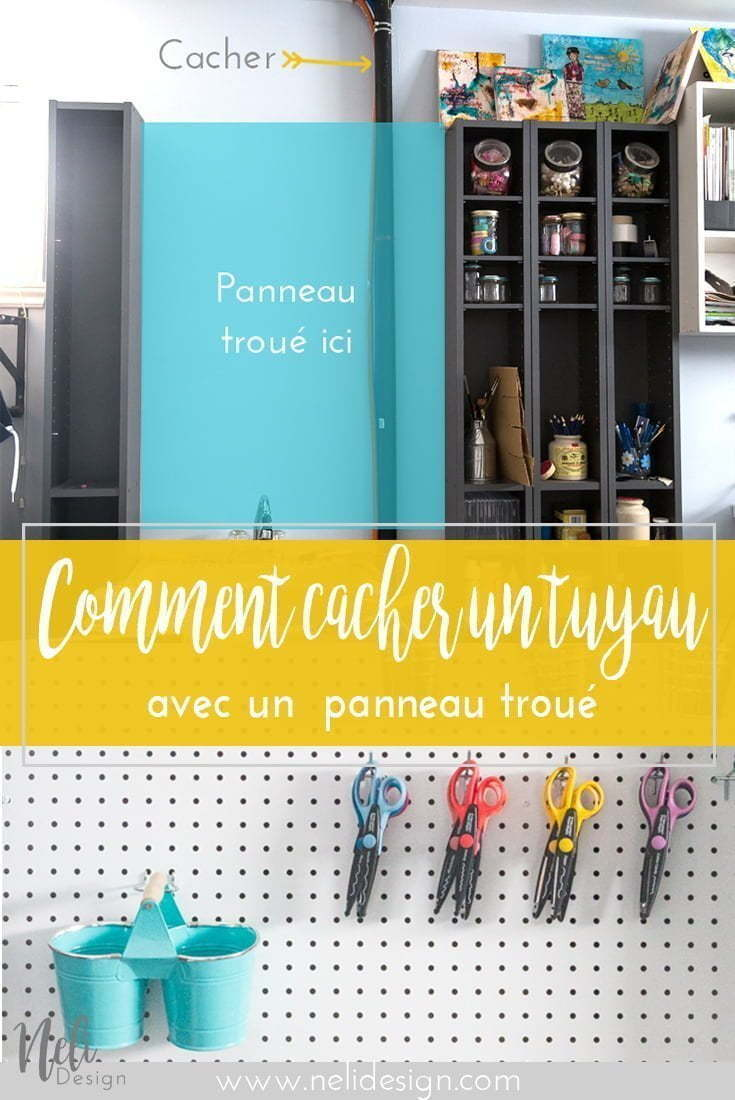 Cacher un tuyau dans salle de bricolage avec panneau troué | Hide a pipe | pegboard in craftroom | how to hang a pegboard | DIY | Hooks on pegboards