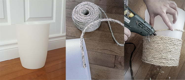 Poubelle | Rustique | plastique | Corde jute | Sisal | Décoration | DIY | faire soi-même | colle chaude | Salle de bain | Toilette | facile | pas cher