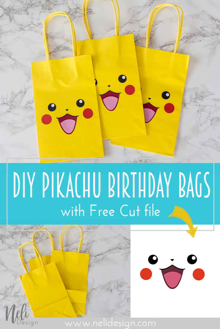 "Pinterest image saying ""DIY Pikachu birthday bags with free cut file"""