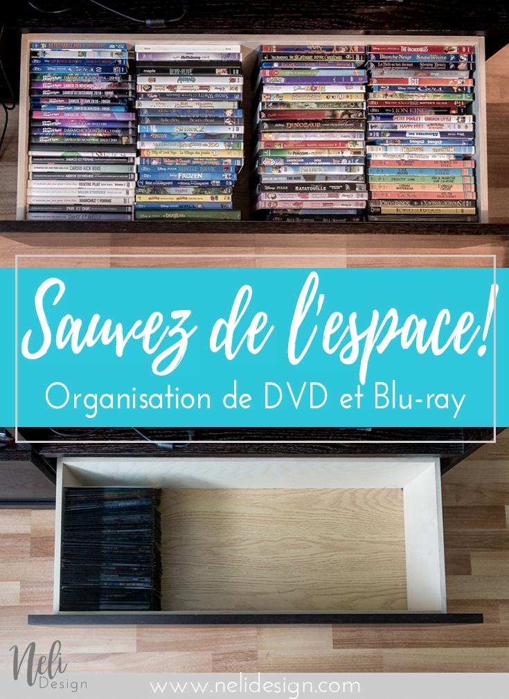 """Image Pinterest indiquant """"Sauver de l'espace - Organisation de DVD et Blu-ray"""""""