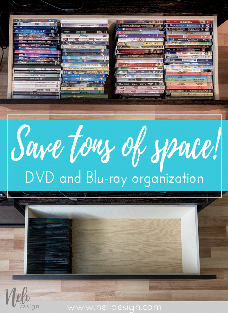 "Pinterest image saying ""save tons of space - DVD and blue-ray organizagtion"""