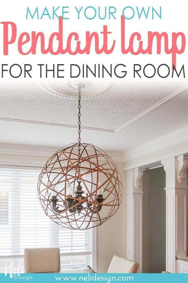 Find out how to make a DIY pendant lamp shade for your chandelier. It an easy an affordable solution to have modern looking pendant light in your dining room. #lighting #diy #onabudget