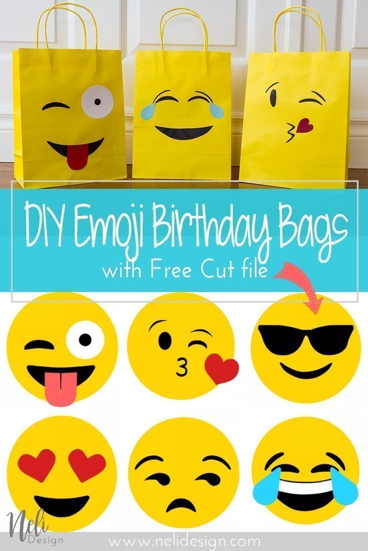 "Pinterest image saying ""DIY Emoji Birthday bags with free cut file"""