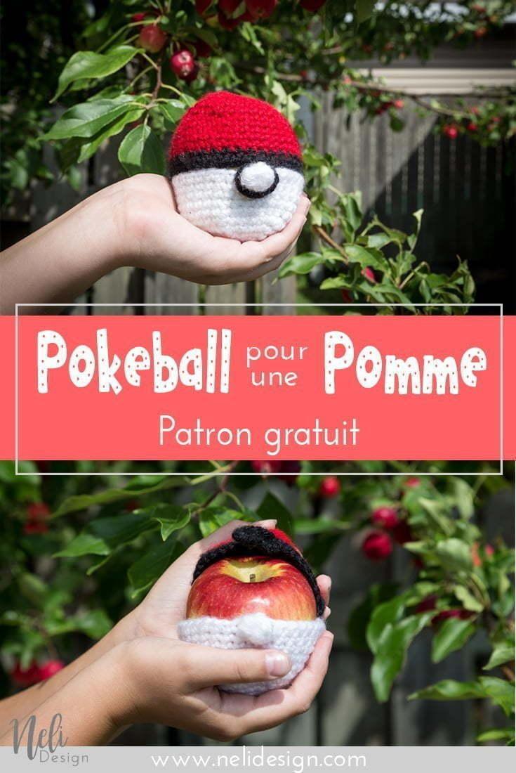 Protège pomme crochet en forme de Pokeball | Pokeball apple cozy crochet pattern | back to school | fun for kids | free crochet pattern | tutorial