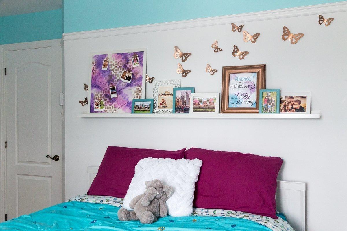 Tween girl bedroom makeover | $100 Room Challenge | DIY | Tutorial | Home Decor | desk area | reading nook | headboard | wall art | décor mural | coin lecture | bureau | tête de lit | instax mini | string art | DIY lamp