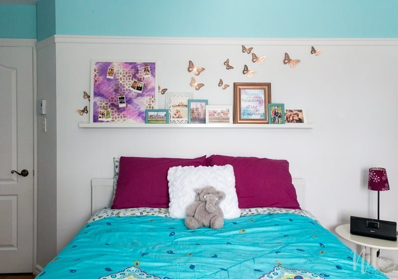 Tween girl bedroom makeover | $100 Room Challenge | DIY | Tutorial | Home Decor | desk area | reading nook | headboard | wall art | décor mural | coin lecture | bureau | tête de lit | instax mini | string art | DIY lamp