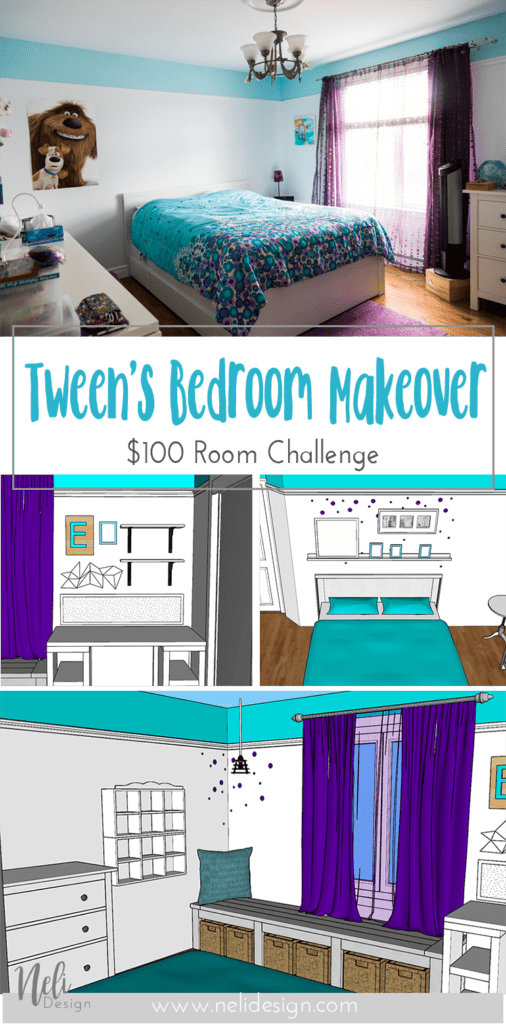Tween Girl's Bedroom Makeover | $100 Room Challenge | Turquoise | Teal | Purple | Reading nook | Desk | Bed | Headboard | DIY | Home Decor | Mauve | Chambre d'une fille pré-adolescente | Rénovation | Décor | bureau | coin lecture