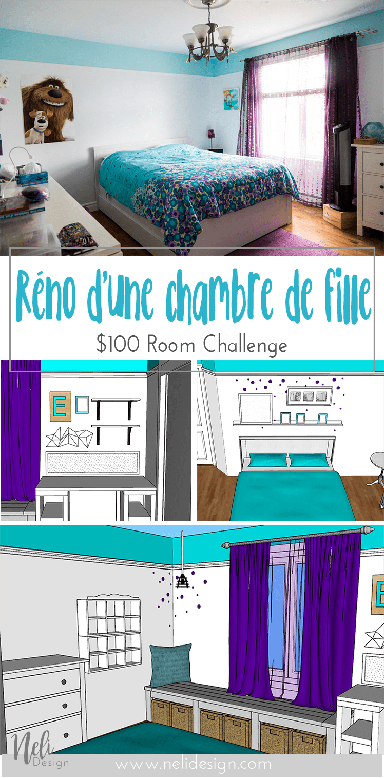Chambre d'une fille pré-adolescente | Rénovation | Décor | bureau | coin lecture | tête de lit | Tween Girl's Bedroom Makeover | $100 Room Challenge | Turquoise | Teal | Purple | Reading nook | Desk | Bed | Headboard | DIY | Home Decor | Mauve |