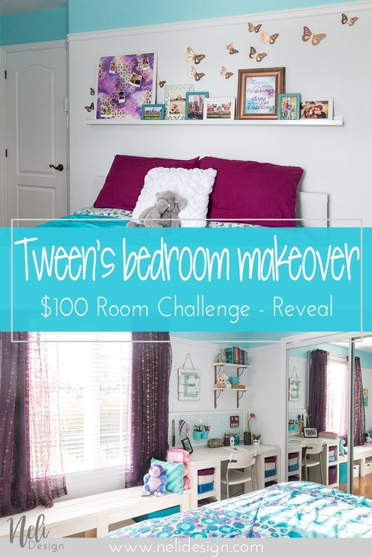 Tween girl bedroom makeover | $100 Room Challenge | DIY | Tutorial | Home Decor | desk area | reading nook | headboard | wall art | instax mini | string art | DIY lamp | Chambre de pré-ado | décor mural | coin lecture | bureau | tête de lit |