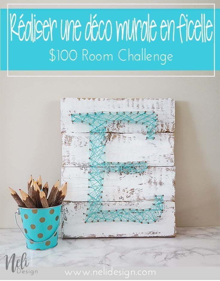 Art de la ficelle | Déco murale | Initiale | String Art Letter Initial | DIY | Teal | Easy craft for kids | Farmhouse | Vintage | Tutorial | Home Decor | Pattern | Corde | Inspiration |