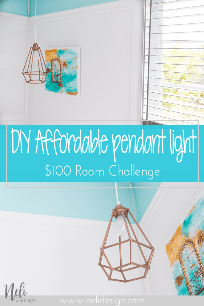 Affordable Geometric pendant light | DIY | Dowels lampshade | cheap, easy and affordable | Tutorial | instructions | $100 Room Challenge | Lampe suspendue géométrique | abat-jour | facile, pas cher | Coin lecture | Reading Nook |