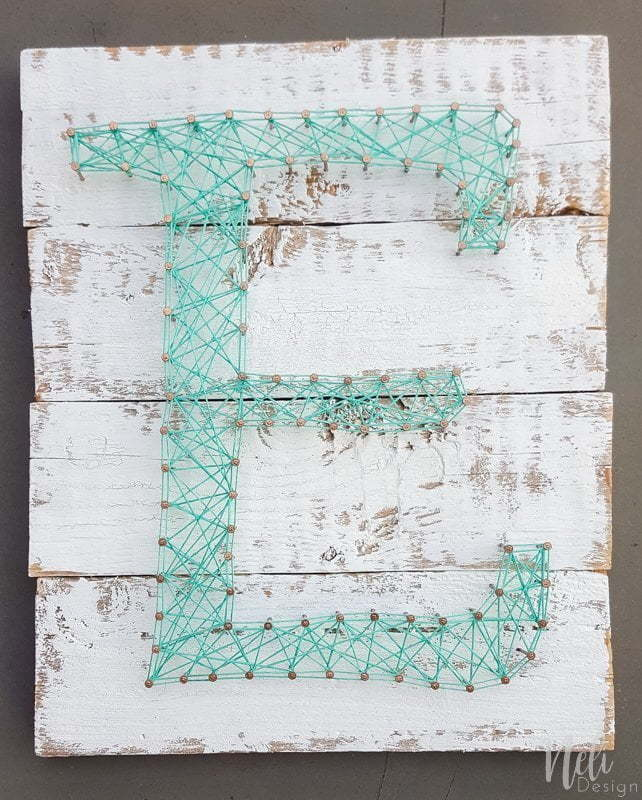 DIY String Art Letter | DIY | Teal | Easy craft for kids | Farmhouse | Vintage | Tutorial | Home Decor | Pattern | Corde | Inspiration