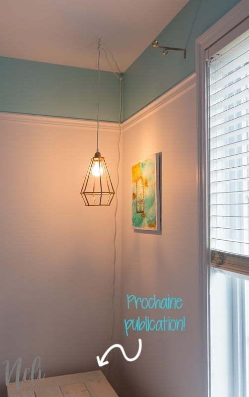 Geometric pendant light | DIY | Dowels | cheap, easy and affordable | Tutorial | instructions | $100 Room Challenge | Lampe suspendue géométrique | facile, pas cher | Coin lecture | Reading Nook |