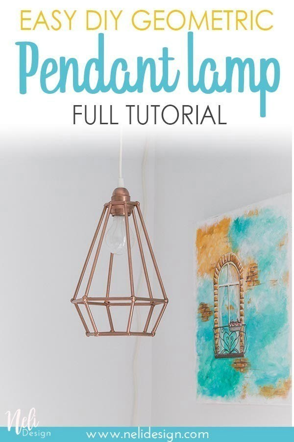 Get the full detailed tutorial on how to make this geometric lampshade for a pendant light. You only need basic skills and it's affordable. It's an easy solution to make a DIY lamp shade. #light #homedecor