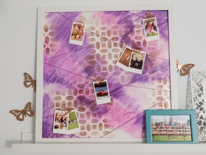DIY Frame hang Photos string art Pictures watercolor Instax mini stencil souvenirs cadre photographies aquarelle pochoir ficelles