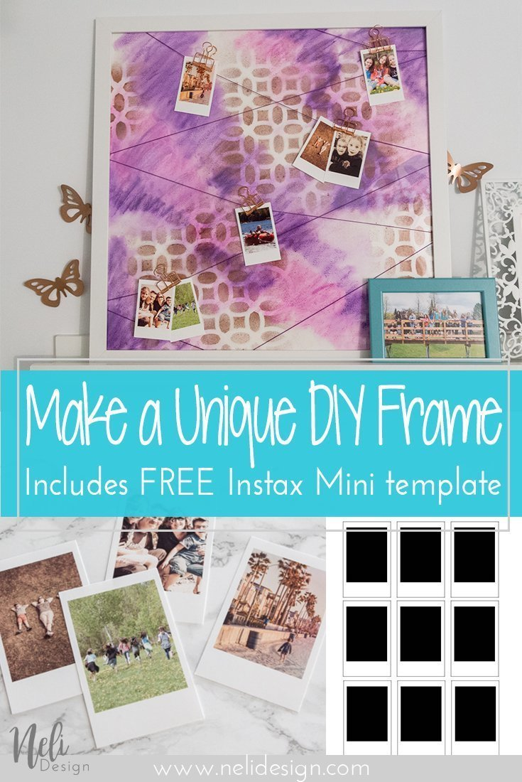 DIY Frame hang Photos string art Pictures watercolor Instax mini stencil souvenirs cadre photographies aquarelle pochoir ficelles