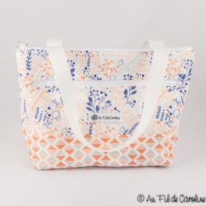 Etsy gifts, Etsy shop, cadeaux boutiques Etsy, sac à lunch, Insulated lunch bag, Zipped bag, Calypsos garden, Pink, Coral, Blue, Grey, Made in Quebec, Gift for her