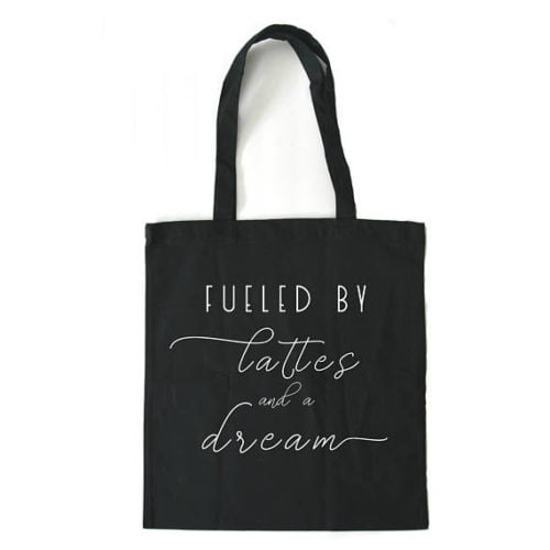 Etsy gifts, Etsy shop, cadeaux boutiques Etsy, sac, bag, fuelled by lattes and a dream,Boss Babe - Gift for Her - Entrepreneur - Inspirational Quote - Coffee - Hustle - Motivational - Canvas Tote Bag - Girl Boss