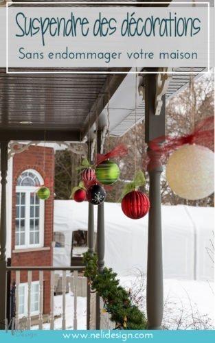 Accrocher des décorations de Noël dehors, boules de Noël, facile, Hang Christmas balls ornaments outside, Christmas decoration, DIY, Tutorial, Ribbon, seasonal #christmas #christmasdecor #outside #boulesdenoel #deconoel #tip #facile #homedecor #christmasspirit #winter