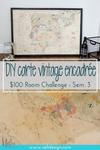 carte géographique vintage | DIY Vintage map | How to distress a map | framed map | low cost | cheap | Delong map | wine map | distress with coffee | wall art for cheap | économique