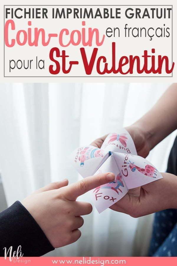 Obtenez ce Coin-coin de la St-Valentin gratuitement pour les enfants. Ce jeu papier imprimable est rempli de blagues de la St-Valentin en français pour faire rire les enfants. Même les garçons seront intéressés par ce simple diy. #coincoin #bricopapier #cootiecatcher #papercraft #forkids #printable #freebie