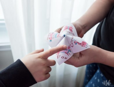 Get this free Valentine printable for kids. This cootie catcher, also called, paper fortune teller is loaded with Valentine