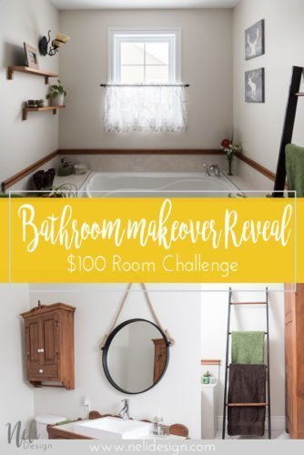 small Bathroom makeover $100 Room Challenge, on a budget, DIY, before and after, rustic ladder, upgrade of a trash can, rope mirror, deer art, Rénovation d'une petite salle de bain, miroir en corde, échelle, cadres de cerfs #makeover #100roomchallenge #bathroom #homedecor #affordable #ladder #ropemirror #deerart #wallart #trashcan