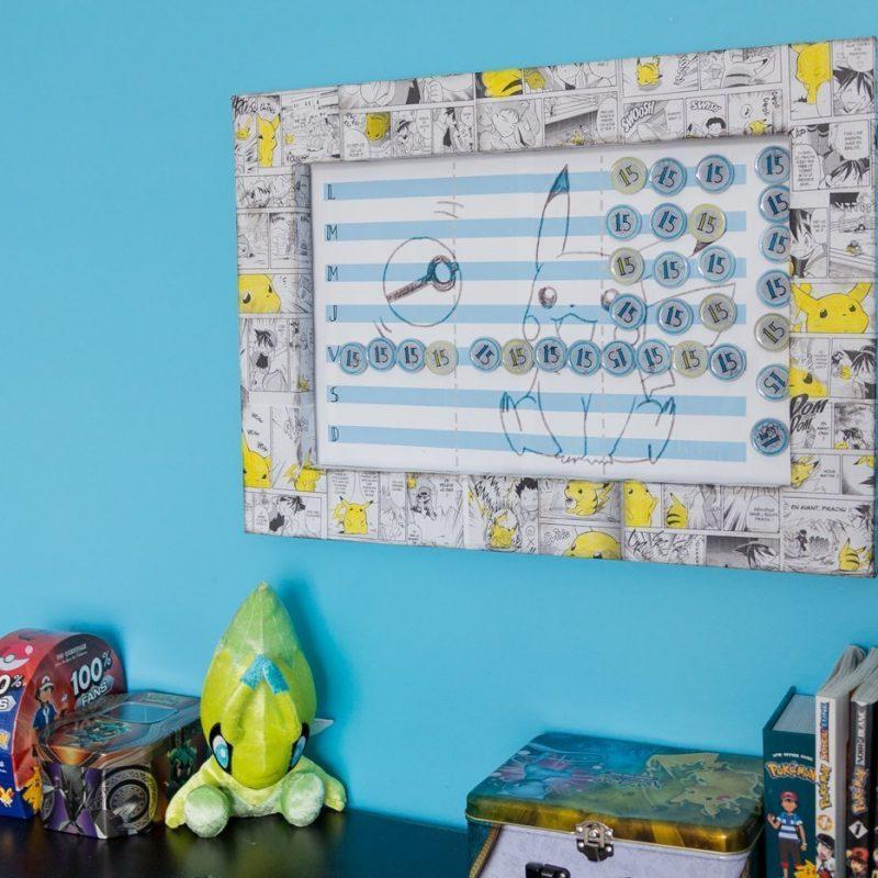 Tableau magnétique à faire soi-même | comment réaliser un tableau magnétique | aimants à faire soi-même avec de la résine | Artrésine | recyclage bouchons | cadre thème Pikachu | Cadre thème Pokemon | gratuit téléchargement |  #pikachu #plaqueabiscuits #tableaumagnetique #tableaudetaches #charte #aimants #resine