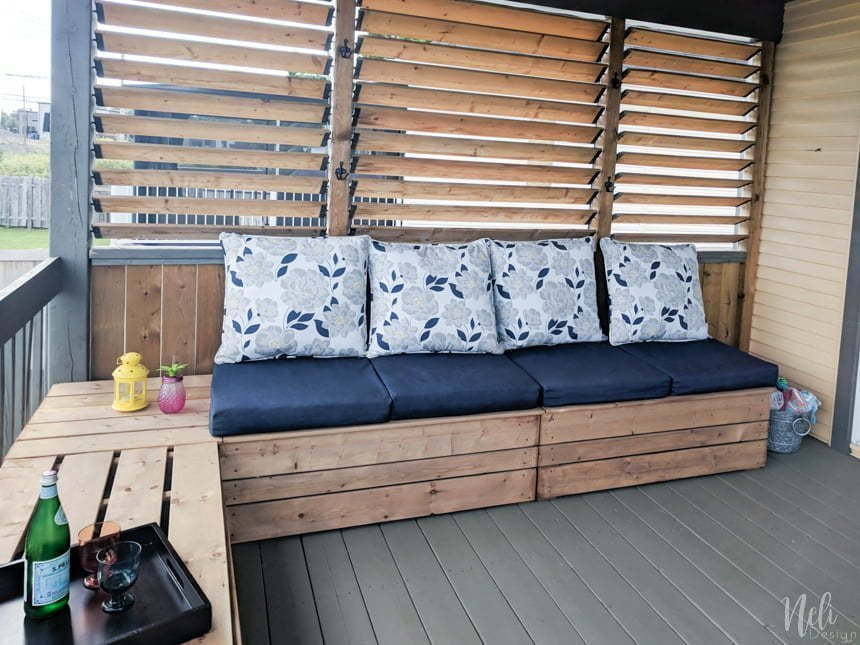 DIY free plan patio bench with storage