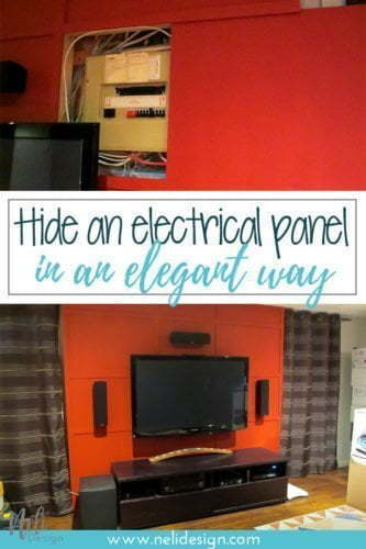 How to hide an electrical panel in an elegant way, home theatre, home theatre, hide electric cables, hide wires, sliding panel, tips, ways to hide, DIY, hide electrical box, #cover #diy #electricalpannel