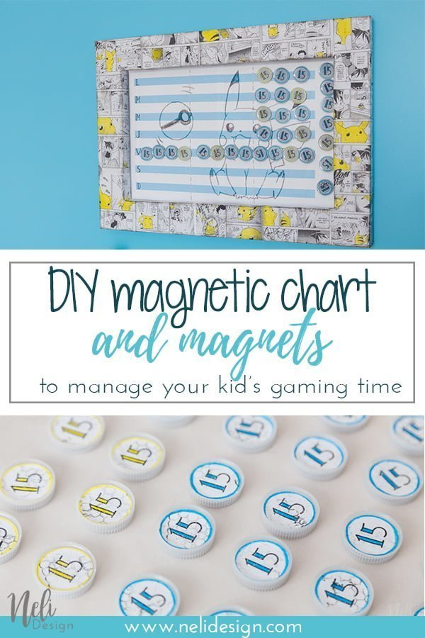 DIY magnetic gaming time chart made with cookie sheet | How to make a magnetic chart | DIY magnets with resine | artresine | magnetic chart for children | magnetic chart to manage gaming time | game time management | Pikachu theme frame | Pokemon theme frame | tableau magnétique à faire soi-même | comment réaliser un tableau magnétique | aimants à faire soi-même avec de la résine | Artrésine | recyclage bouchons | cadre thème Pikachu | Cadre thème Pokemon | gratuit téléchargement | freebies | downloadable #pikachu #cookiesheet #magneticchart #chorechart #chart #magnets #resine