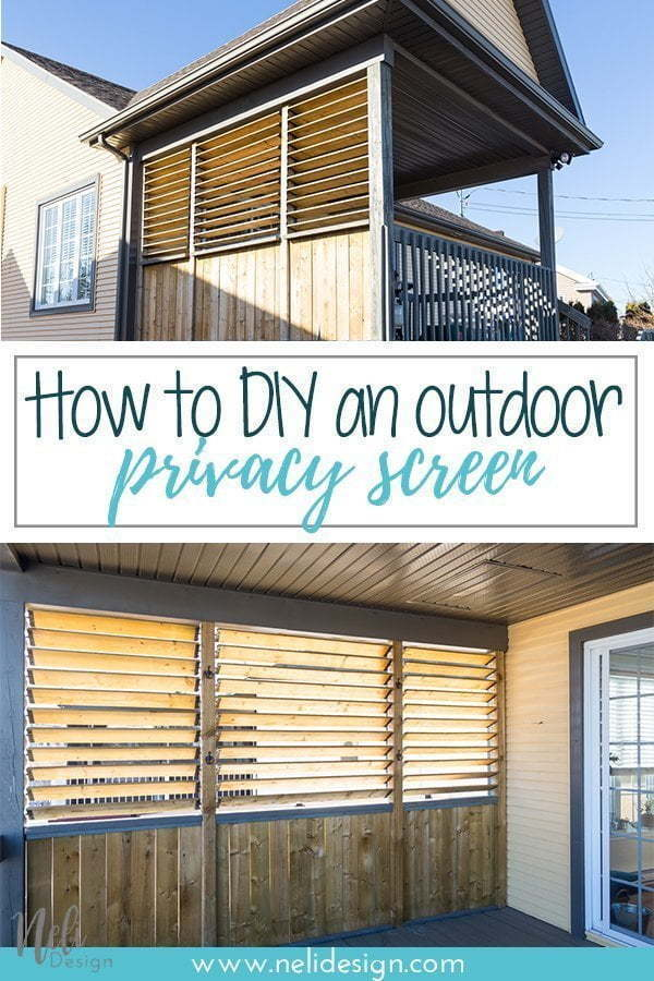 How to DIY an outdoor privacy screen for your patio, balcony, outside, block views, neighbors, tutorial, hardware, easy to make, step by step, build your own privacy screen, for your deck #privacyscreen #outside #tutorial