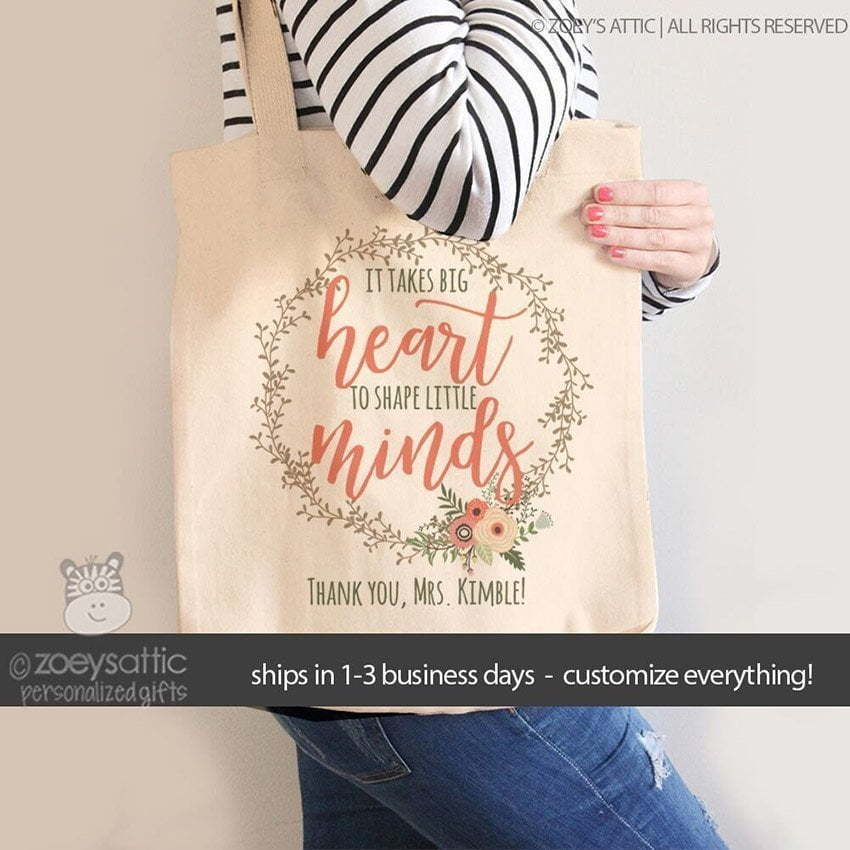Tote bag It takes big heart to shape little minds cutomizable. Personalized gifts for teachers.