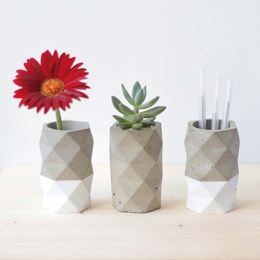 concrete pencil holder