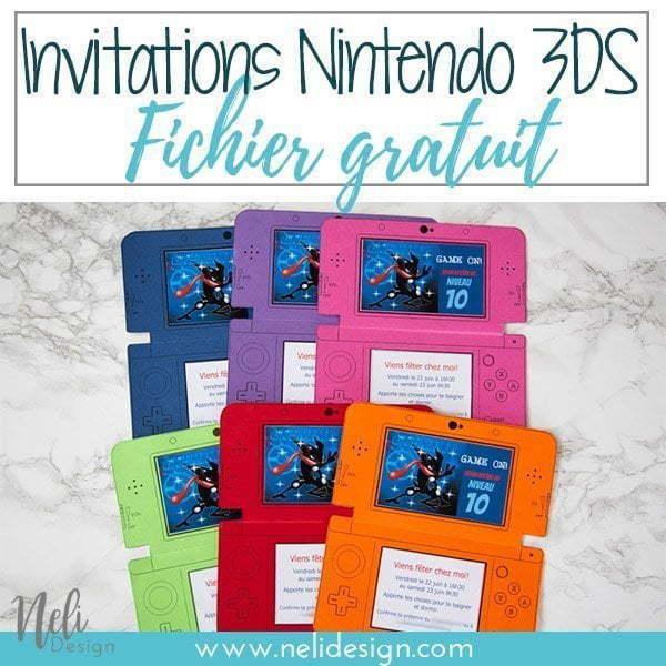 """Image pour Pinterest Invitationsd'anniversaireNintendo 3DS indiquant """"inviation Nintendo 3DS - Fichier gratuit"""""""