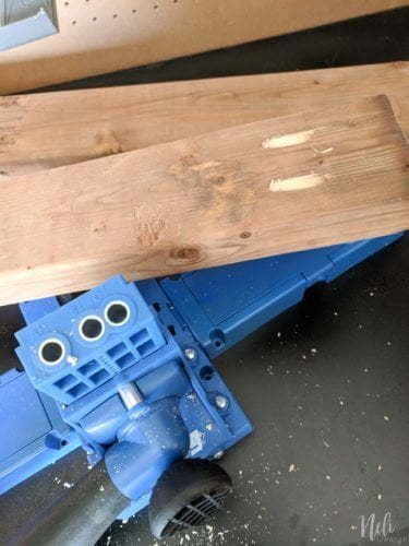 Drill with the Kreg jig to allow assembly of all pieces of modular outdoor bench with storage.