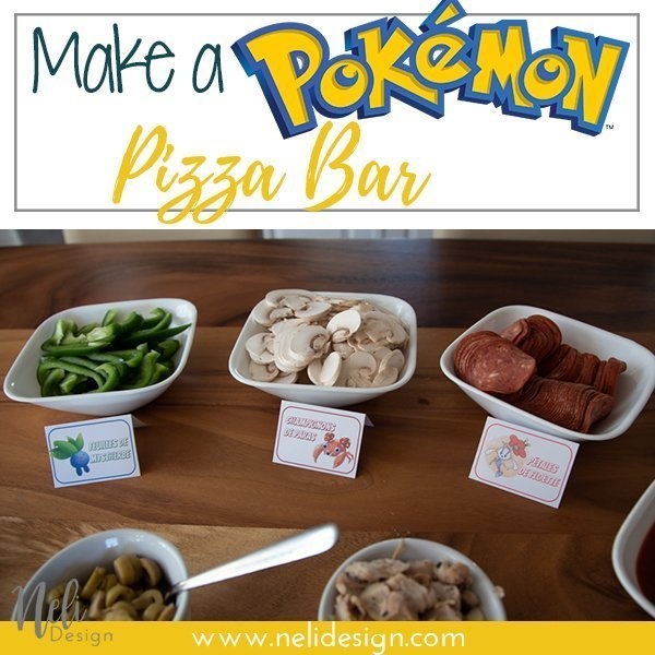 Pinterest image saying : Make a Pokémon Pizza Bar
