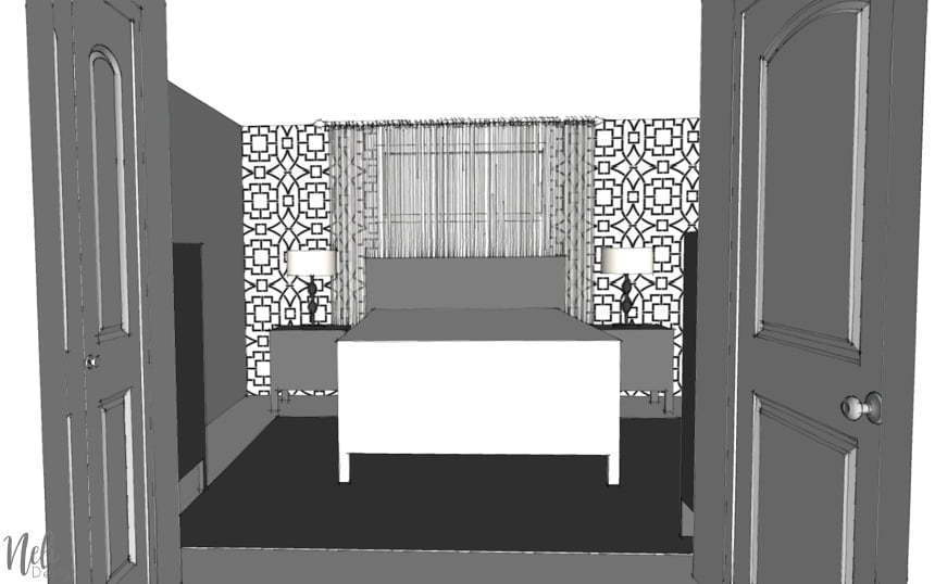 Find out what I have planned for my small master bedroom makeover for the $100 Room Challenge. A lot of ideas are planned to change this decor and add colour, all of it, on a budget. You'll see that the layout will be changed so that the bed is in front of the window. Check out the before and after plan. #100roomchallenge #masterbedroom #onabudget #bedroomdecor #bedroomideas #bedrooms